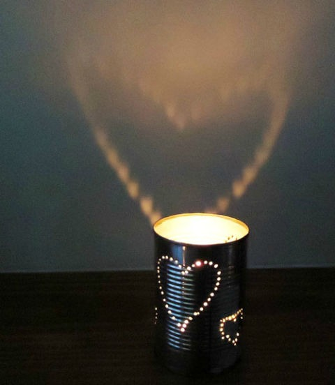 repurposed punched tin can candle holder - featured at KnickofTime.net