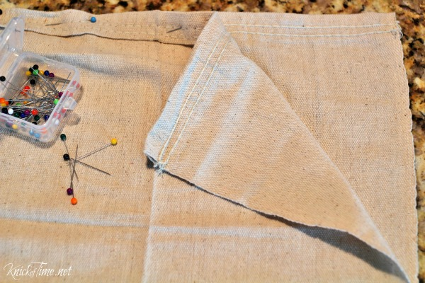 Make your own inexpensive canvas drop cloth curtains - tutorial by KnickofTime.