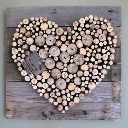 Rustic Wood Valentine Heart Art