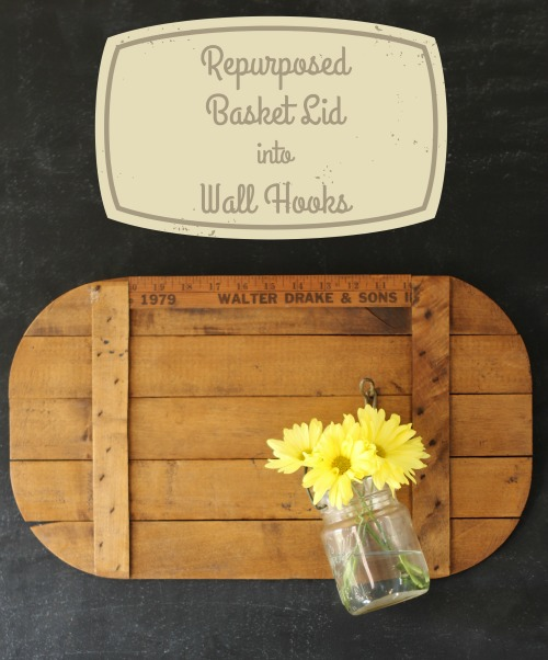 rustic picnic basket wooden crate lid repurposed into farmhouse wall hooks - KnickofTime.net