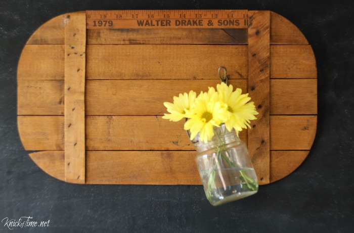 Wooden picnic basket lid repurposed into farmhouse wall hooks with vintage ruler and coat hook - KnickofTime.net