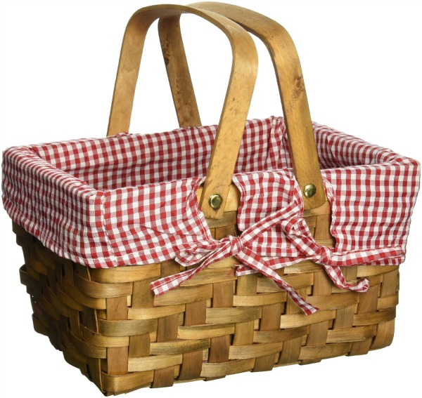 picnic basket with red gingham liner
