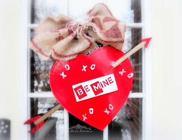 Valentine door wreath from repurposed chocolates box