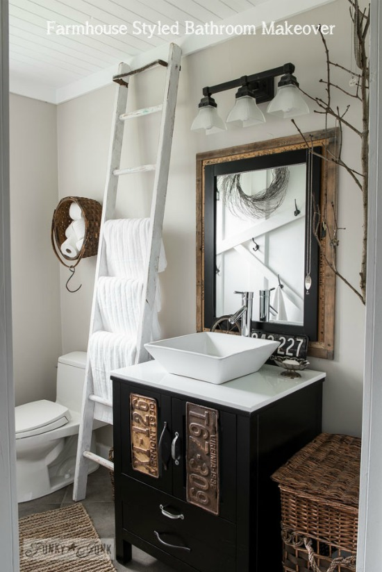salvaged farmhouse bathroom