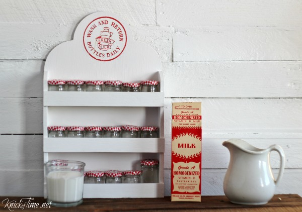 Give an outdated thrift store spice rack a farmhouse makeover with a milk cap image transfer. Tutorial at KnickofTiem.net