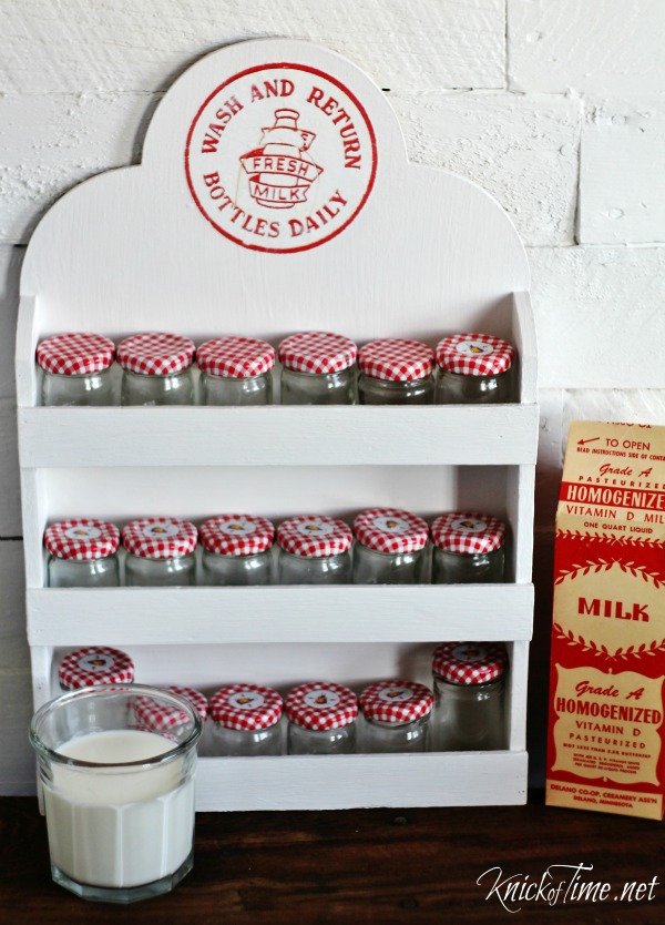 upcycled vintage spice rack with milk bottle cap image transfer - KnickofTime.net