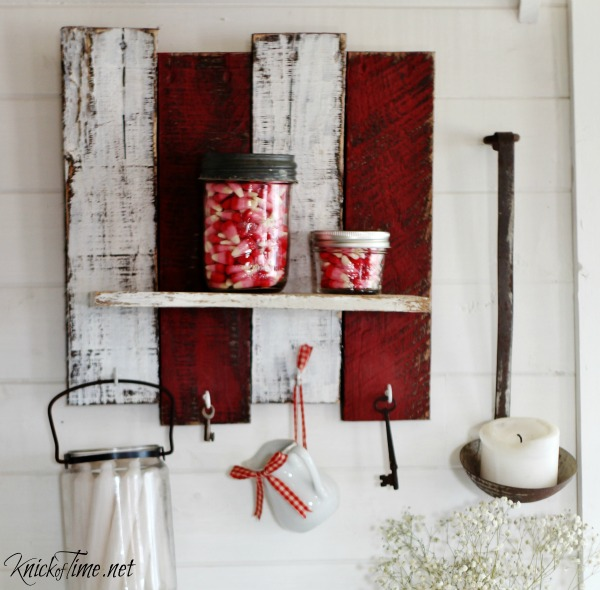 red and white pallet wood shelf for Valentines Day - KnickofTime.net