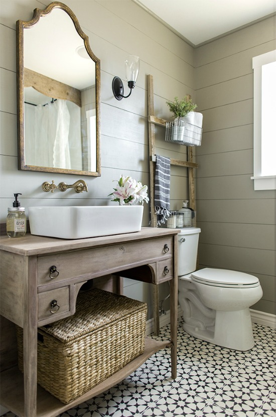 Elegant weathered wood bathroom vanity