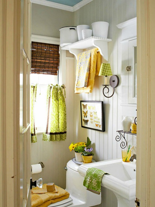 white bathroom with color