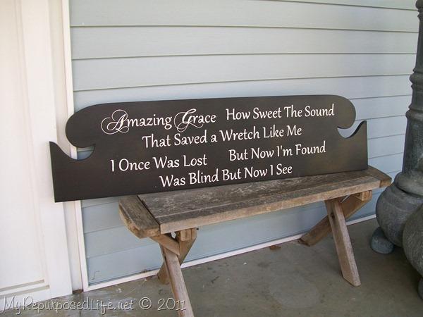 Old headboard repurposed into a beautiful Amazing Grace Sign - www.KnickofTime.net