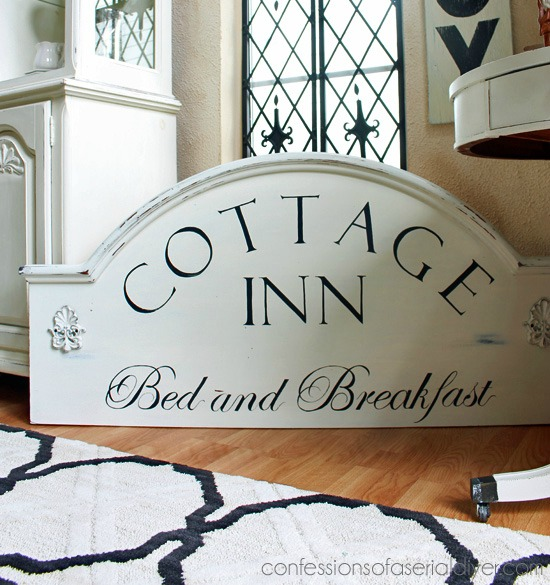 Paint a Bed and Breakfast sign on an old headboard - www.knickoftime.net