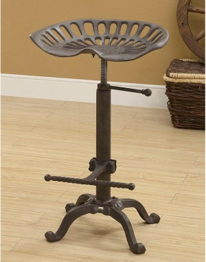 Farmhouse tractor seat adjustable bar stool