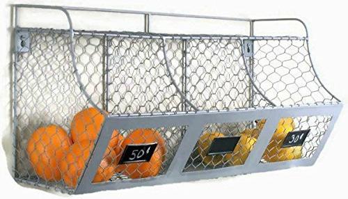 Rustic Industrial Farmhouse Wall Mount Metal Wire Kitchen Vegetable Basket Bins Spice Shelf Storage Rack, Chalkboard Tags