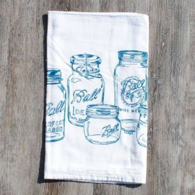 Mason jar farmhouse flour sack kitchen towel