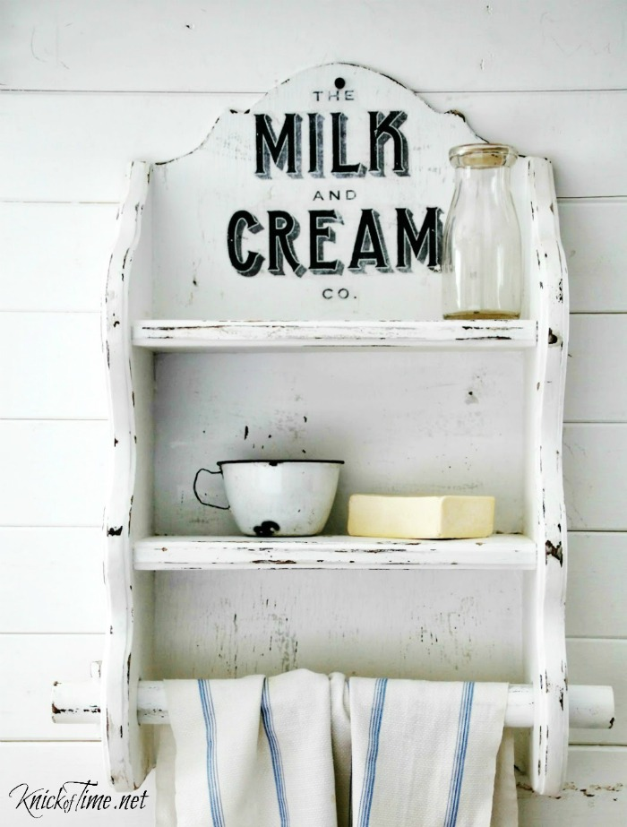 Milk and Cream Company Image Transfer on Wood Farmhouse Shelf - KnickofTime.net