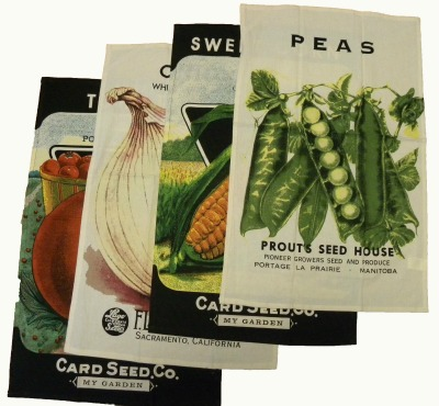 Vintage Seed Packet Flour Sack Towels