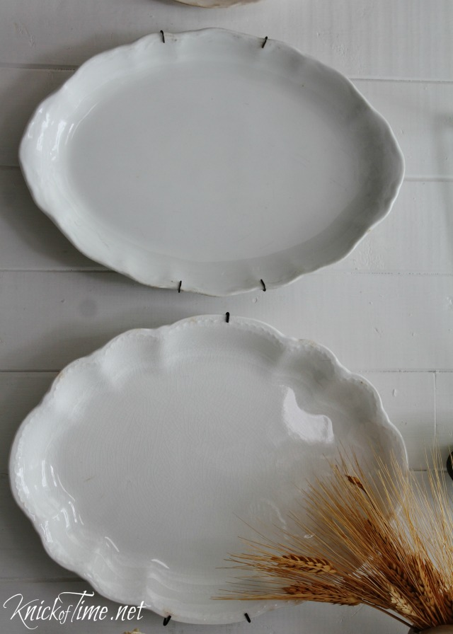 Hang vintage platters on the wall as simple and beautiful wall decor - https://knickoftime.net/