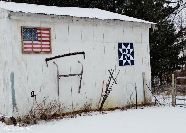 White barn in winter - www.knickoftime.net/