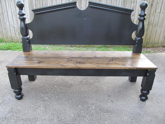 Turn an old headboard into an elegant, yet rustic bench - www.knickoftime.net