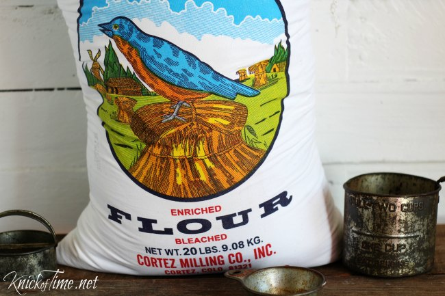 Bag of flour with blue bird graphic - KnickofTime.net