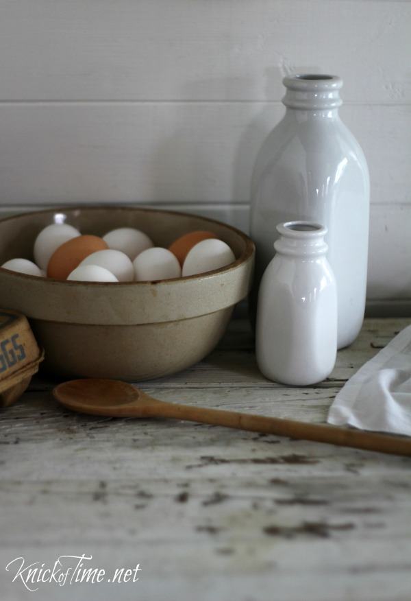Ceramic white farmhouse milk bottles - Available from Knick of Time at KnickofTime.net