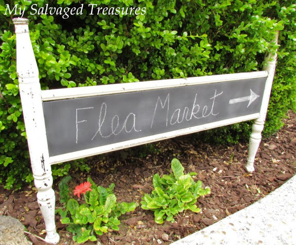 Headboard turned into a chalkboard sign - part of the Farmhouse Friday roundup series at www.knickoftime.net