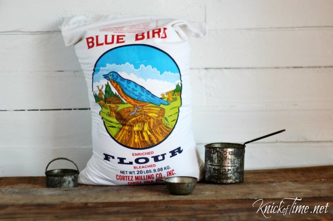 Blue bird flour sack from Dancing Eagle Marketplace - KnickofTime.net