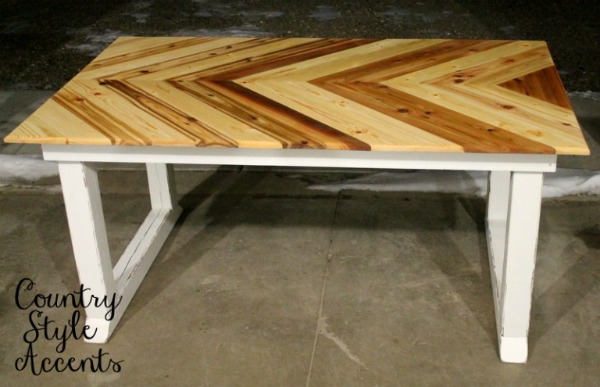 handmade wood cheveron table