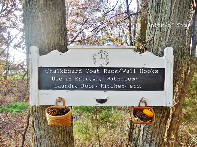 Upcycled headboard coat rack with a chalk board - part of the Farmhouse Friday round-up series at www.knickoftime.net