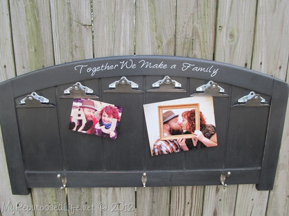 Photo display made from a headboard - part of the Farmhouse Friday roundup series at www.knickoftime.net
