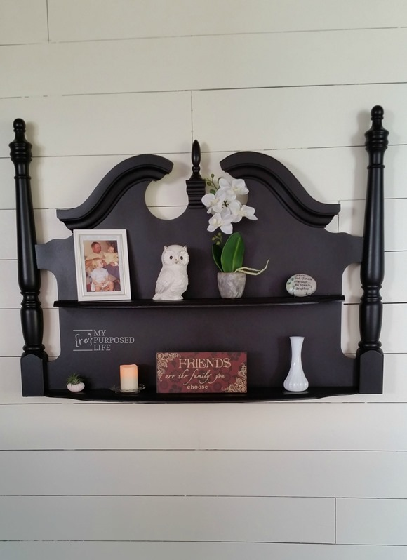 Turn a headboard into a wall shelf - part of the Farmhouse Friday round-up series at www.knickoftime.net