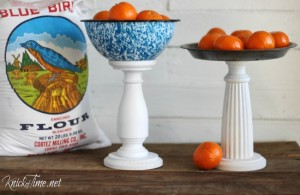 Make a pedestal stand for your farmouse kitchen using an enamelware bowl or vintage pie pan - KnickofTime.net