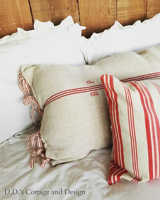 red stripe grain sack pillows