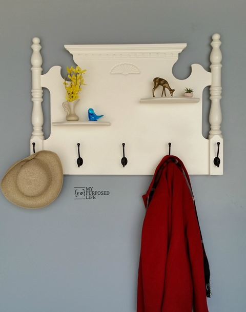 repurposed bed headboard into a coat rack - part of the Farmhouse Friday roundup series at www.knickoftime.net