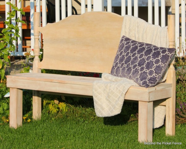 Yellow repurposed headboard bench - part of the Farmhouse Friday Roundup at www.knickoftime.net