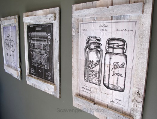 vintage blueprints wall art - Scavenged decor by Scavenger Chic - Featured at KnickofTime.net