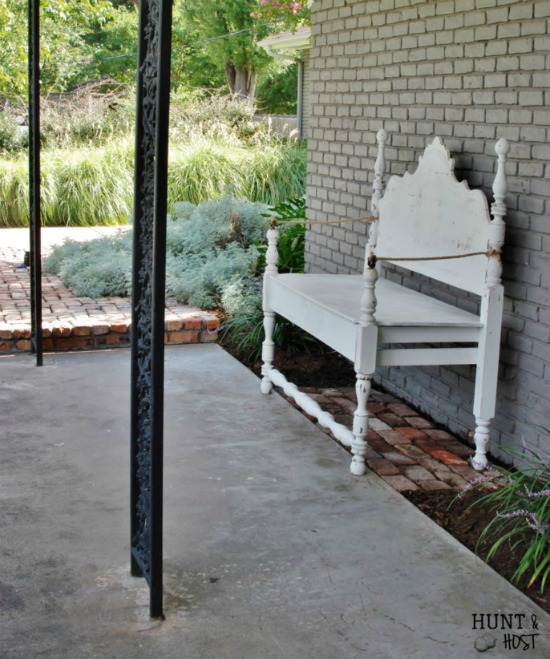 How to repurpose aheadboard into a beautiful white porch bench - www.knickoftime.net