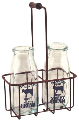 vintage style cream bottles with carrier