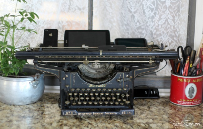 Antique Underwood typewriter charging station Knick of Time