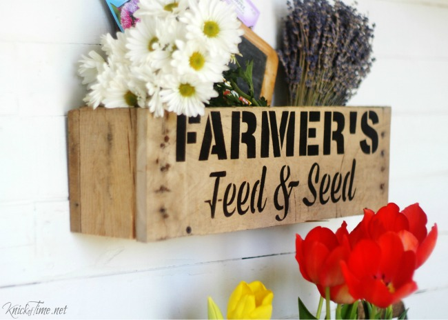 Pallet wood wall crate - Vintage Sign Stencil Farmer's Feed and Seed - KnickofTime.net