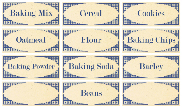 Pantry Labels Blue Vintage Set #1