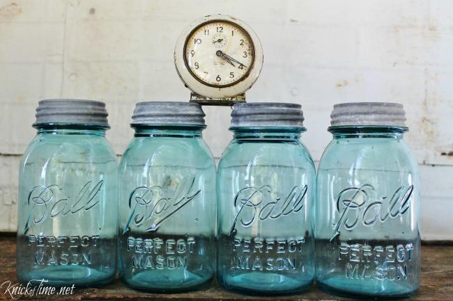 Aqua blue mason canning jars - KnickofTime.net