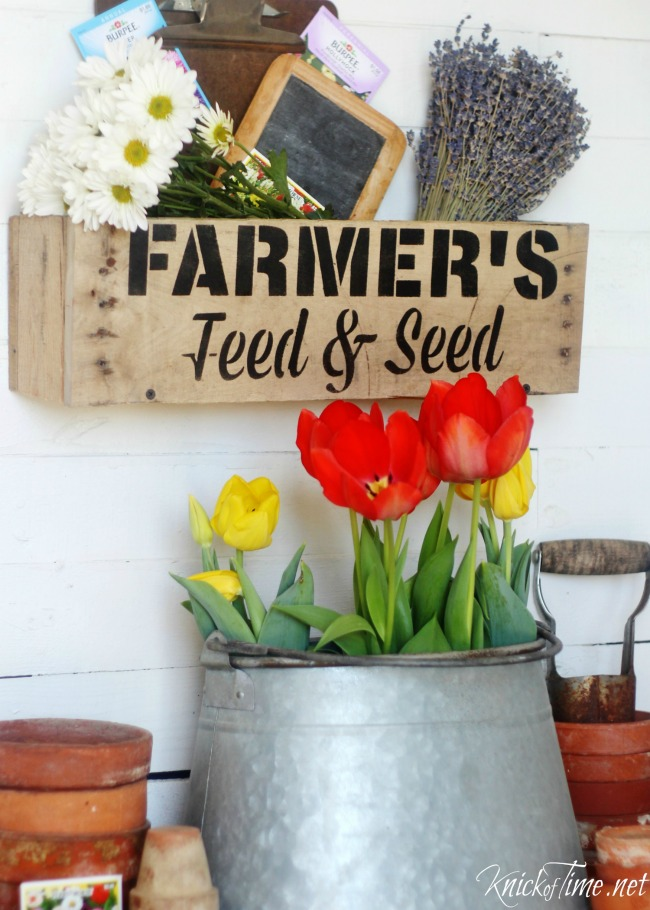 Vintage Sign Stencil Farmer's Feed and Seed stencil on DIY rustic wall crate - KnickofTime.net