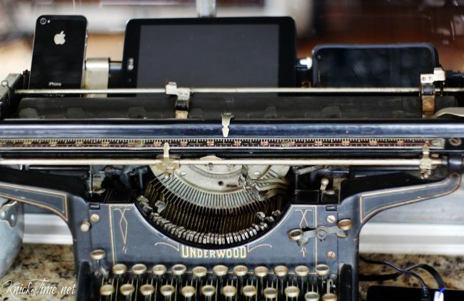 antique typewriter repurposed charging station 2