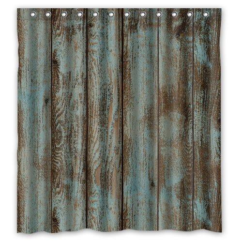 rustic barn wood shower curtain