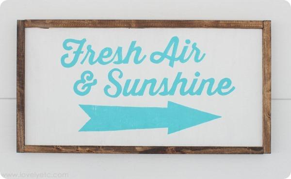 blue fresh air and sunshine sign