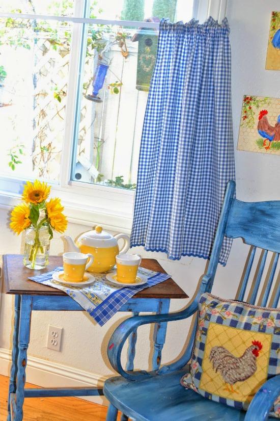 blue gingham curtains