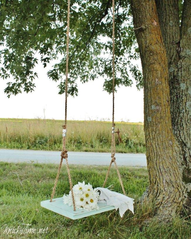 DIY farmhouse wooden swing - KnickofTime.net