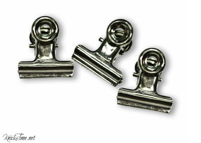 bulldog clips for repurposed clipboard project - www.knickoftime.net