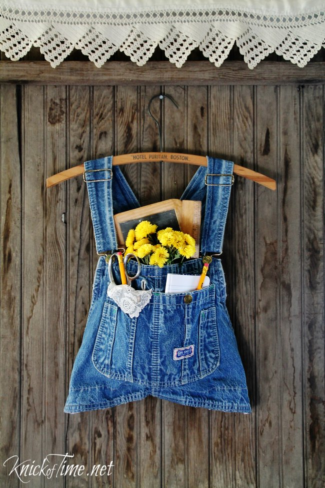 Turn a pair of child's overalls into a farmhouse denim wall pocket! - KnickofTime.net